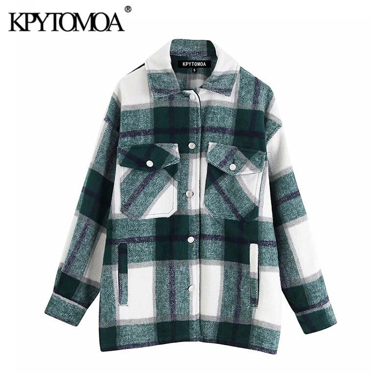 Tasche alla moda Vintage giacca scozzese oversize cappotto donna 2020 moda collo bavero manica lunga capispalla allentato top Chic 1