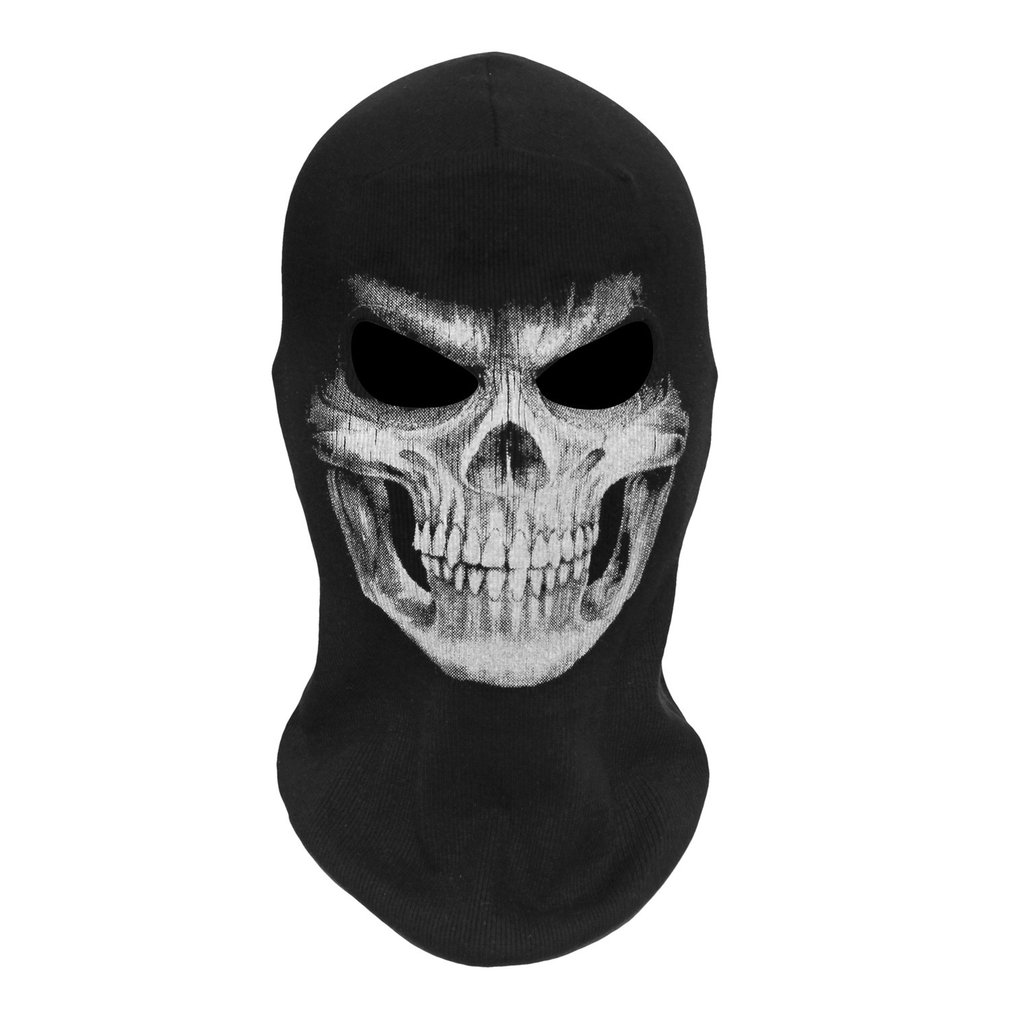 Scary 3D Skull Printed Halloween Mask Adult Full Face Black Mask Men Women Ghost Cosplay Party Costumes & Accessories Clearance