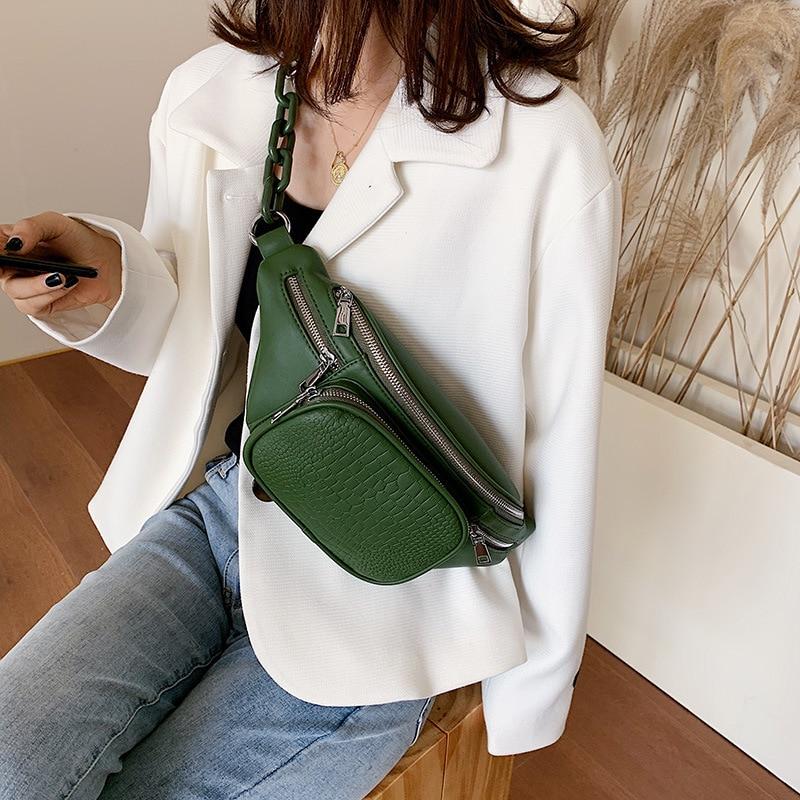 2020 Fashion Stone Pattern PU Leather Waist Bag Travel Casual Chain Women Belt Bag Leisure Female Crossbody Shoulder Fanny Pack