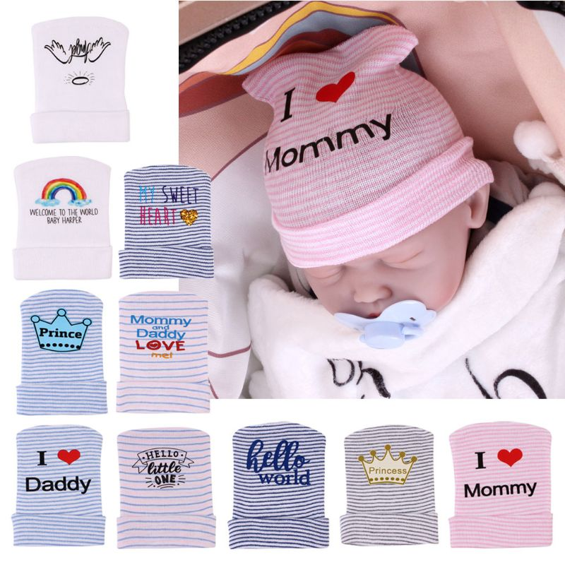 2020 новая детская шапка для младенцев новорожденных полосатые шапки вязаные шапочки с бантом мягкие больничные шапки для девочек детская те...