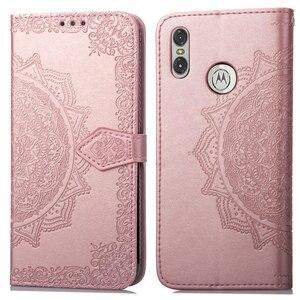 Роскошный кожаный чехол-бумажник с цветком для телефона Motorola One, чехол-книжка для Motorola P30 Play, чехлы из ТПУ, Fundas Capa