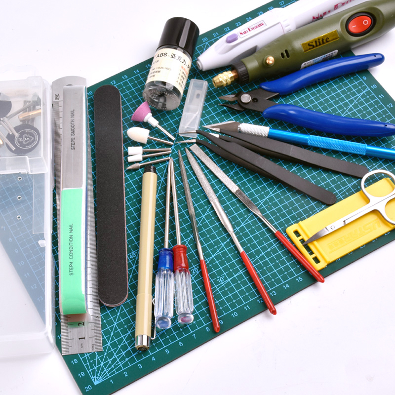 Hot Sale Model Building Tools For Gundam Tools Hobby Military Model DIY Accessories Grinding Cutting Mat Polishing Tools Set