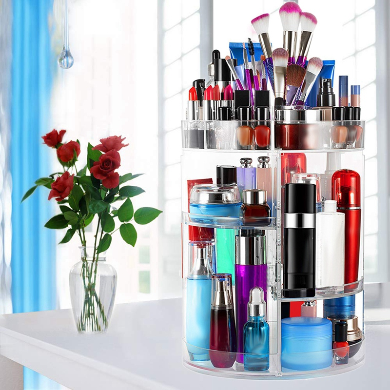 360 Degree Rotating Makeup Organizer Large Capacity & Adjustable Multi Function Cosmetic Storage Box Fits Makeup Brushes Eyeline Makeup Organizers     - title=