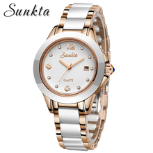 Watches Women Fashion Waterproof Watch 2019 Top Luxury Brand Quartz Ceramics Stainless Steel Women Watches Relogio Feminino+Box women watches 2016 guanqin tungsten steel waterproof quartz watch luxury women brand fashion watches relogio feminino