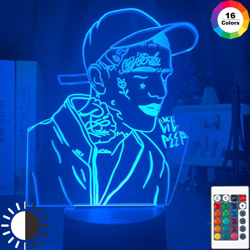 Американский рэпер Lil Peep светодиодный ночной Светильник для женской ночной Светильник подарок для фанатов Прямая поставка 3d лампа знаменит...