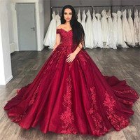 Burgundy V Neck Off The Shoudler Lace Up Back Satin Evening Dresses Long Party Evening Gown Ball Gown Evening Dresses