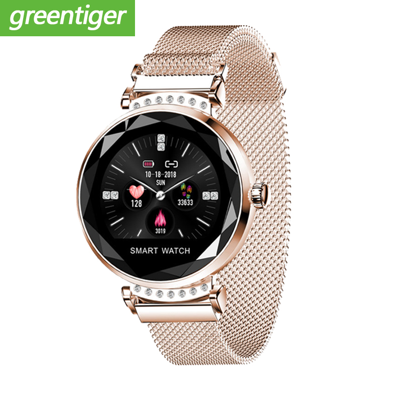 Newest Fashion H2 Smart Watch Women 3D Diamond Glass Heart Rate Blood Pressure Sleep Monitor Best Gift Smartwatch-in Smart Watches from Consumer Electronics    1