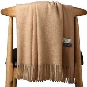 Image 5 - Высококачественный кашемировый шарф для женщин и мужчин, толстое теплое зимнее пончо, роскошный шерстяной Пашмина, женский длинный зимний шарф, шаль, палантин
