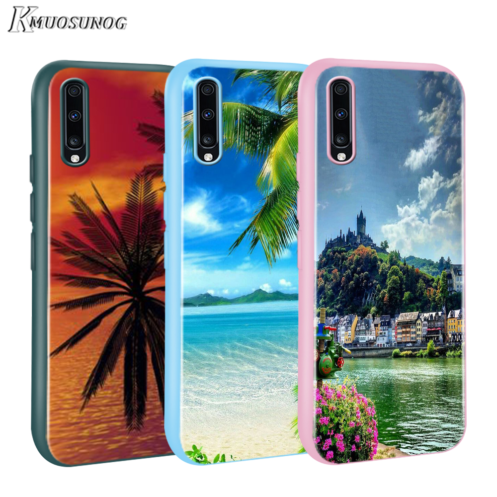 Candy Color Cover Beautiful beach with palm trees for <font><b>Samsung</b></font> <font><b>Galaxy</b></font> A01 A51 A71 A90 A70S A60 A50S <font><b>A40</b></font> A30 A20E A10 <font><b>Phone</b></font> <font><b>Case</b></font> image