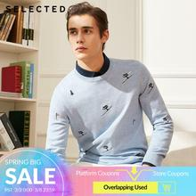 SELECTED 남성용면 100% 자수 스웨터 니트 스웨터 C