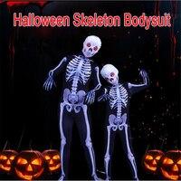 Ataullah Parent child Halloween Costumes Print Scary Skeleton Costume Jumpsuit Skull Bone Elastic Bodysuit Children Adult DW013