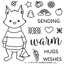 AZSG Cartoon Style Cute Fox Hugs Wishes Clear Stamps/seals For DIY Scrapbooking/Card Making/Album Decorative Silicon Stamp Craft