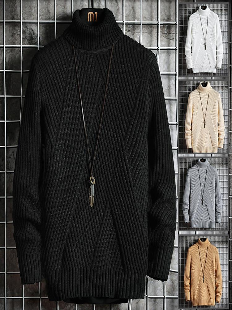 2020 Fall/Winter Men's Turtleneck Sweater Korean Slim Young Student Turtleneck Lapel Sweater Sweater Knitted Base Shirt Trend 6