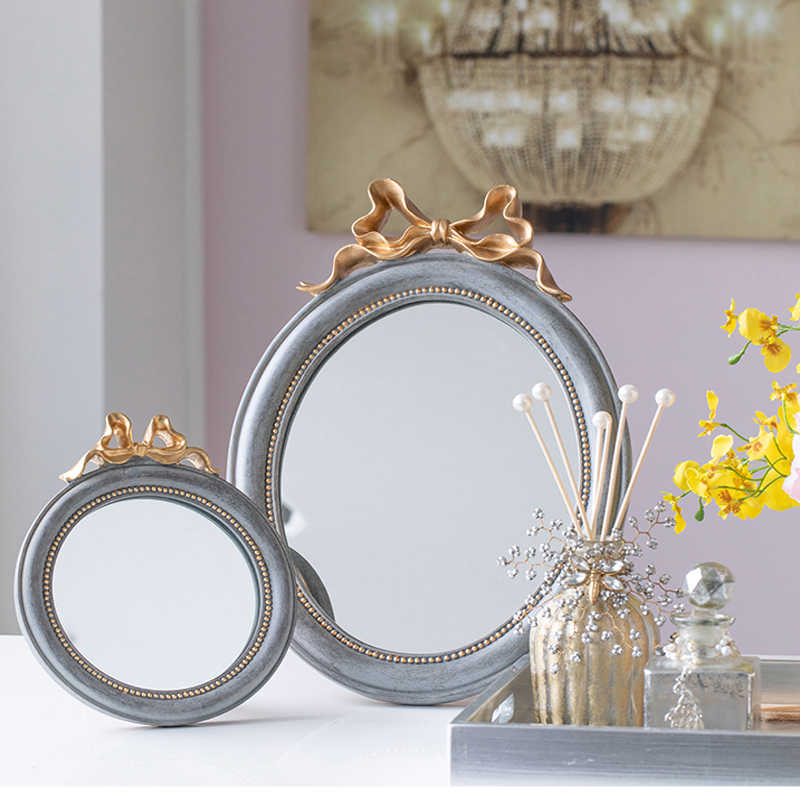 Retro Palace Gold Bow Oval Shape Bedroom Dressing Makeup Mirror Bathroom Home Hanging Wall Mirror Decoration Accessories Aliexpress