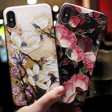 Dla iphone 11 Pro Max 5 5S se skrzynki pokrywa dla iphone 6 7 8 6s etui dla iphone #8217 a x XS Max XR 7 8 6 Plus skrzynka 3D kwiaty czarna obudowa tanie tanio GTTWDTMSTB Odporna na brud Anti-knock Aneks Skrzynki Fashion 3D Printed Soft Silicone Mobile Phone Bag Apple iphone ów