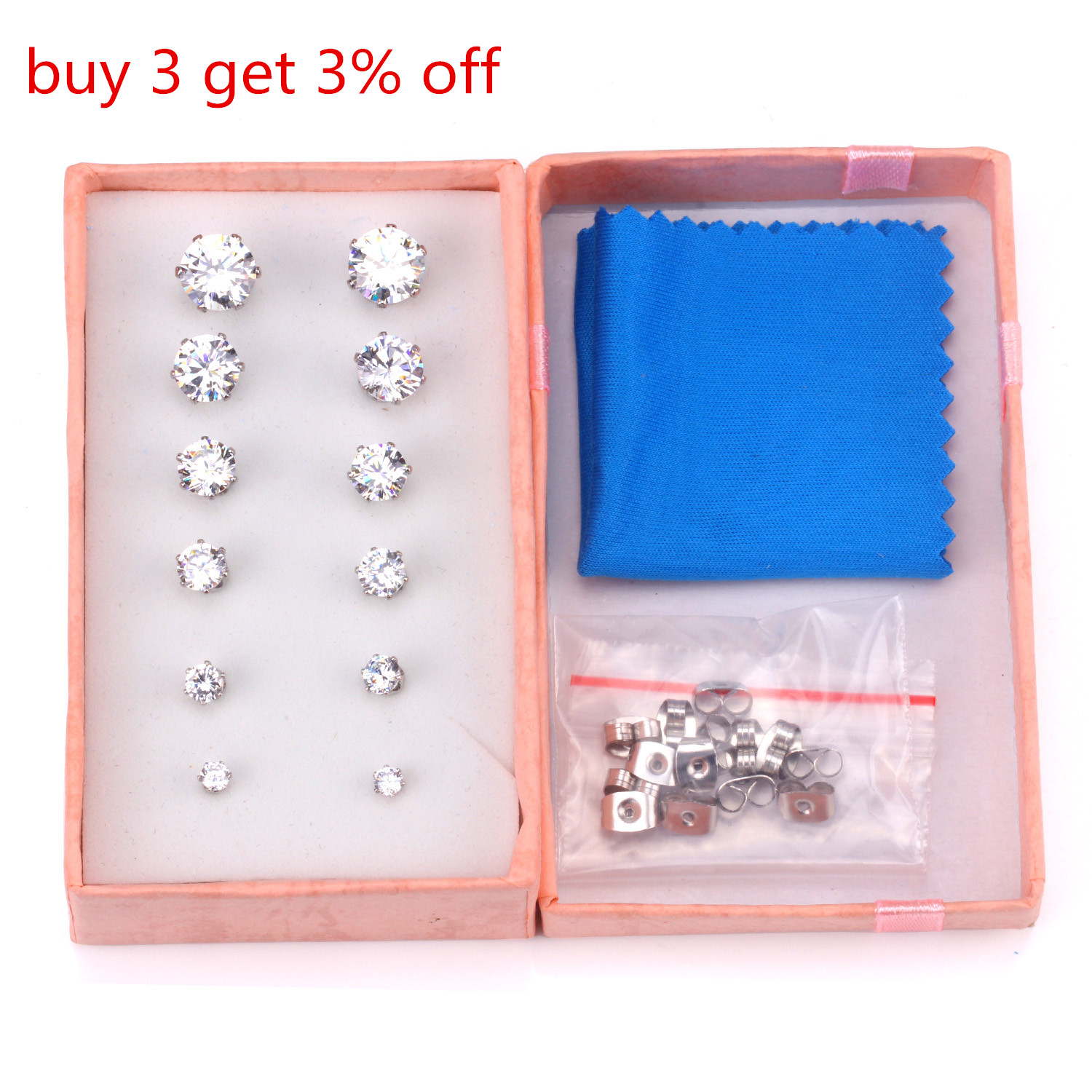 LUXUSTEEL Round/Square Cubic Zirconia 6pair/box Earring Set Colorful BirthStone Push Back Stud Earrings Bijoux pendientes