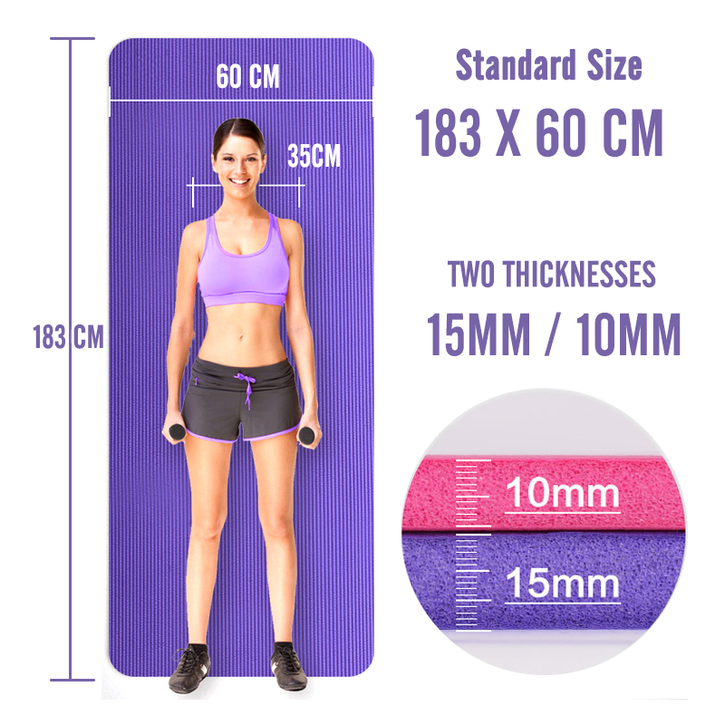 Image 2 - 183X60X15MM Non slip Yoga Mats For Fitness Mat Tasteless Pilates Gym Exercise Thickening Fitness Sports Pad Supporting DIY Print-in Yoga Mats from Sports & Entertainment