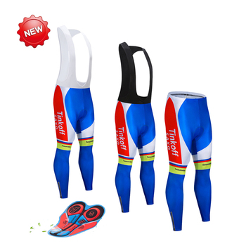 Tinkoff hombre/mujer acolchado Ciclismo bicicleta larga pantalones babero de alta calidad 9D...