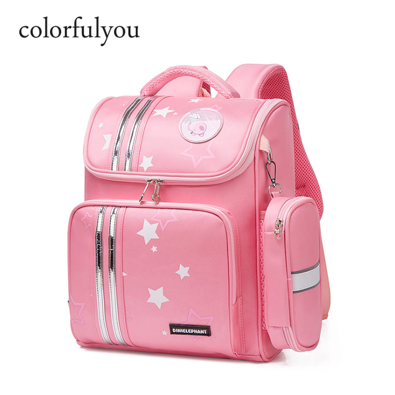 2019 NEW School Bag For Girls Children Orthopedic Backpack Kids Cartoon Print Nylon Waterproof Book Bag Primary 1-3 Grade