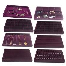 Aksamitna szuflada Jewlery pudełko typu Organizer taca na zegarek bransoletka pierścionki witryna ekspozycyjna fioletowy 35x24x3cm