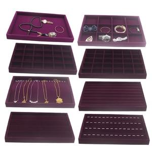 Image 1 - Fluwelen Lade Jewlery Doos Organizer Tray Voor Horloge Bangle Ringen Display Showcase Paars 35X24X3 Cm