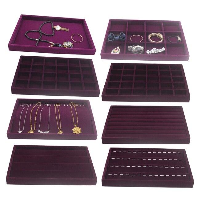 Samt Schublade Jewlery Box Organizer Fach für Uhr Armreif Ringe Display Schaufenster Lila 35x24x3cm