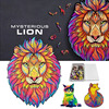 Wooden Puzzle For Adults Children DIY Mysterious lion Puzzles Each Piece Is Animal Shaped Christmas Gift Wooden Jigsaw Puzzle