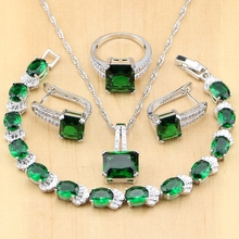 חדש 925 תכשיטי כסף ירוק זירקון לבן CZ סטי תכשיטי נשים עגילים/תליון/שרשרת/טבעת/צמיד
