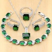 ¡Novedad de 925! Joyería de plata con circonita verde, circonita blanca y circonita blanca, conjuntos de joyería para mujer, pendientes/colgante/Collar/anillo/pulsera
