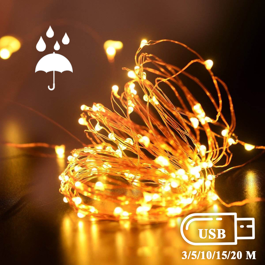 BEKCMTH USB Led String Light Fairy Led Lights Outdoor Copper Wire Lamp Led Garland Light Fairy Lights For Garland Decoration
