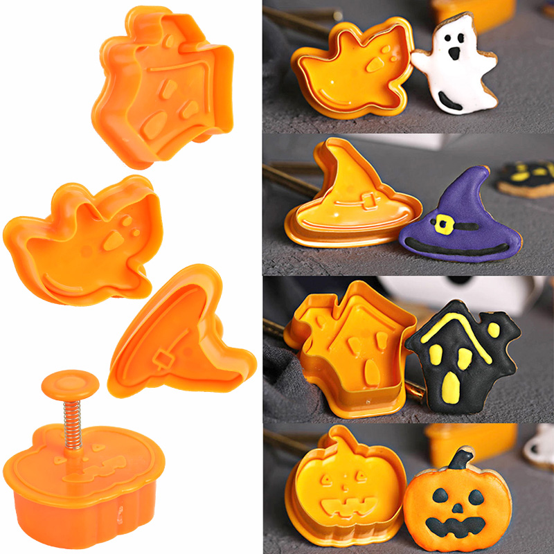 4pcs Halloween Party Decoration Pumpkin Ghost Theme Plastic Cookie Cutter Plunger Fondant Chocolate Mold Cake Decorating Tools