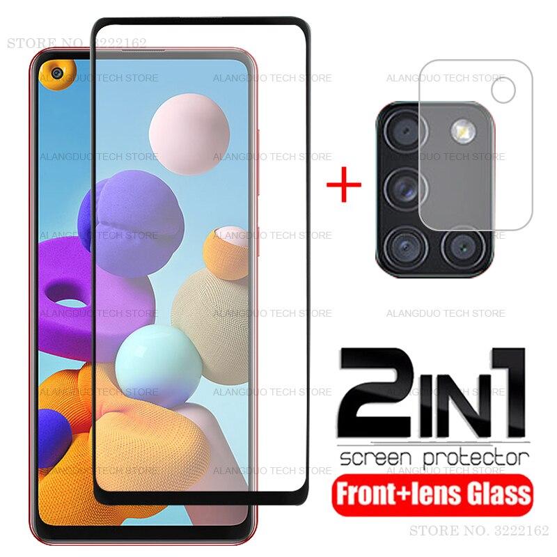 2-in-1 Per Samsung Galaxy A21S A21 S Vetro Per Samsung A21S Vetro Temperato Per Samsung A20 a20S A20E A21S Obiettivo di Vetro