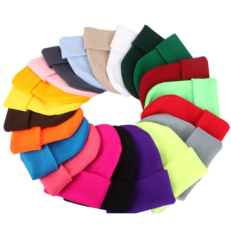 Wholesale 10pcs\lot New Solid Skullies Beanies Hats Warm Knitted Autumn Winter Cap For Women Men Hip Hop Bonnet Cap