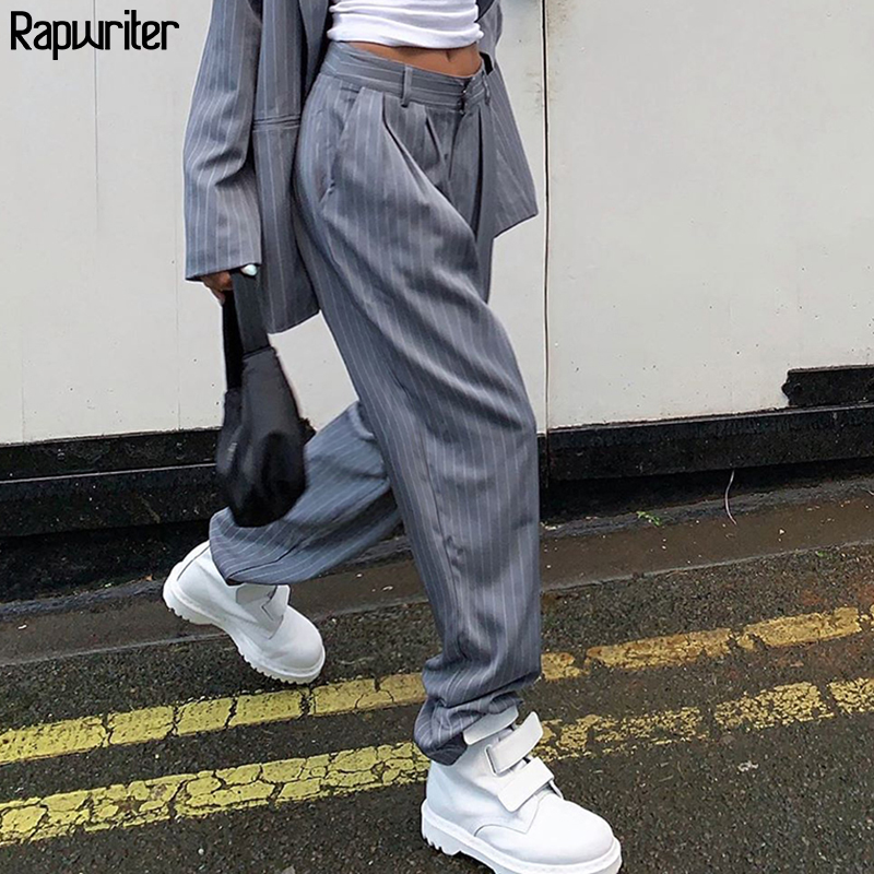 Rapwriter  High Waist White Striped Pants Suit Pants Women 2020 Streetwear Straight Trousers Harajuku Loose Gray Pants Pockets