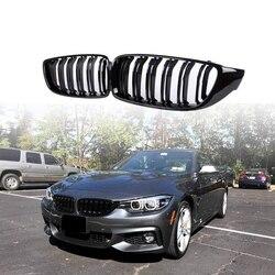 Przedni Grill kratki Grill nerkowy wymiana dla BMW serii 4 F32 F33 F36 F80 F82 podwójna listwa M4 styl sportowy jasnoczarny