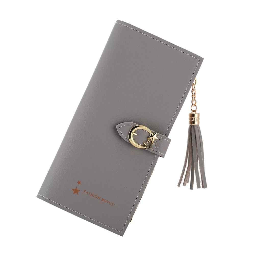 2019 Moda Senhora de Couro Fivela Carteira Zíper Embreagem Sólidos Matte Vintage Mulheres Saco Pequeno Cartão LongTassel Two Fold Coin Bolsas # D