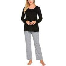 SAGACE комплект для беременных женщин, для беременных, для кормящих, для грудного вскармливания, рубашка для малышей, топы, одноцветные, для беременных, на каждый день, длинные штаны, пижамный комплект