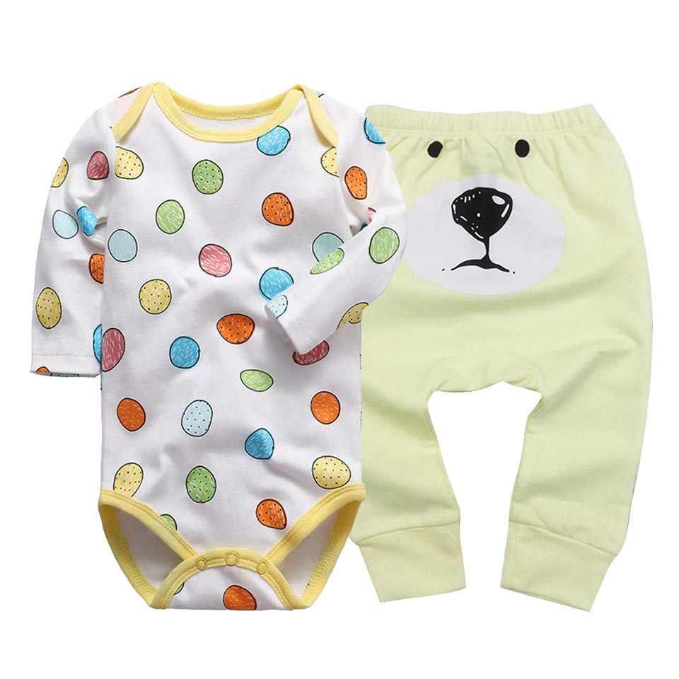 2 Stks/set Pasgeboren Baby Meisje Kleding Katoenen Baby Romper Lange Mouw Ondergoed Harem Pp Broek Broek Set 6M -24M