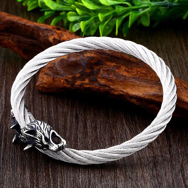 Bracelet acier tête de loup-009G 5