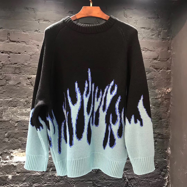 Sweater Men Streetwear Retro Flame Pattern Hip Hop Autumn New Pull Over Spandex O-neck Oversize Couple Casual Men's Sweaters 6