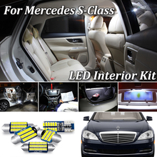 цена на 100% Canbus White Error Free For Mercedes Benz S class W140 W220 W221 LED Interior Light + License plate lamp Kit (1994-2013)