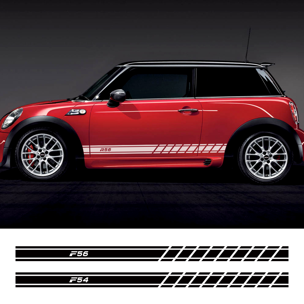 2PCS Car Door Side Skirt Stickers Decals For Mini Cooper F56 F54 F57 F55 F60 R50 R52 R53 R55 R56 R57 R58 R59 R60 R61 Accessories