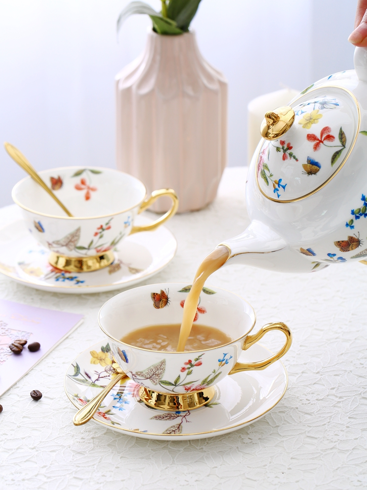 European Floral Tea Set Bone China Tea Pot Milk Containe Sugar Jar Teacup Saucer Household Office Afternoon Tea Set