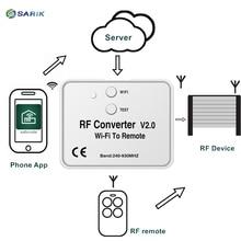 Универсальный WiFi переключатель дистанционного управления 433MHz 868MHz WiFi в РЧ конвертер многочастотный плавающий код Двери Гаража Пульт дистанционного управления