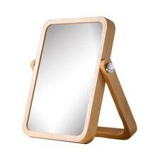 Wooden Desktop Single-Sided Makeup Mirror HD Shaving Universal