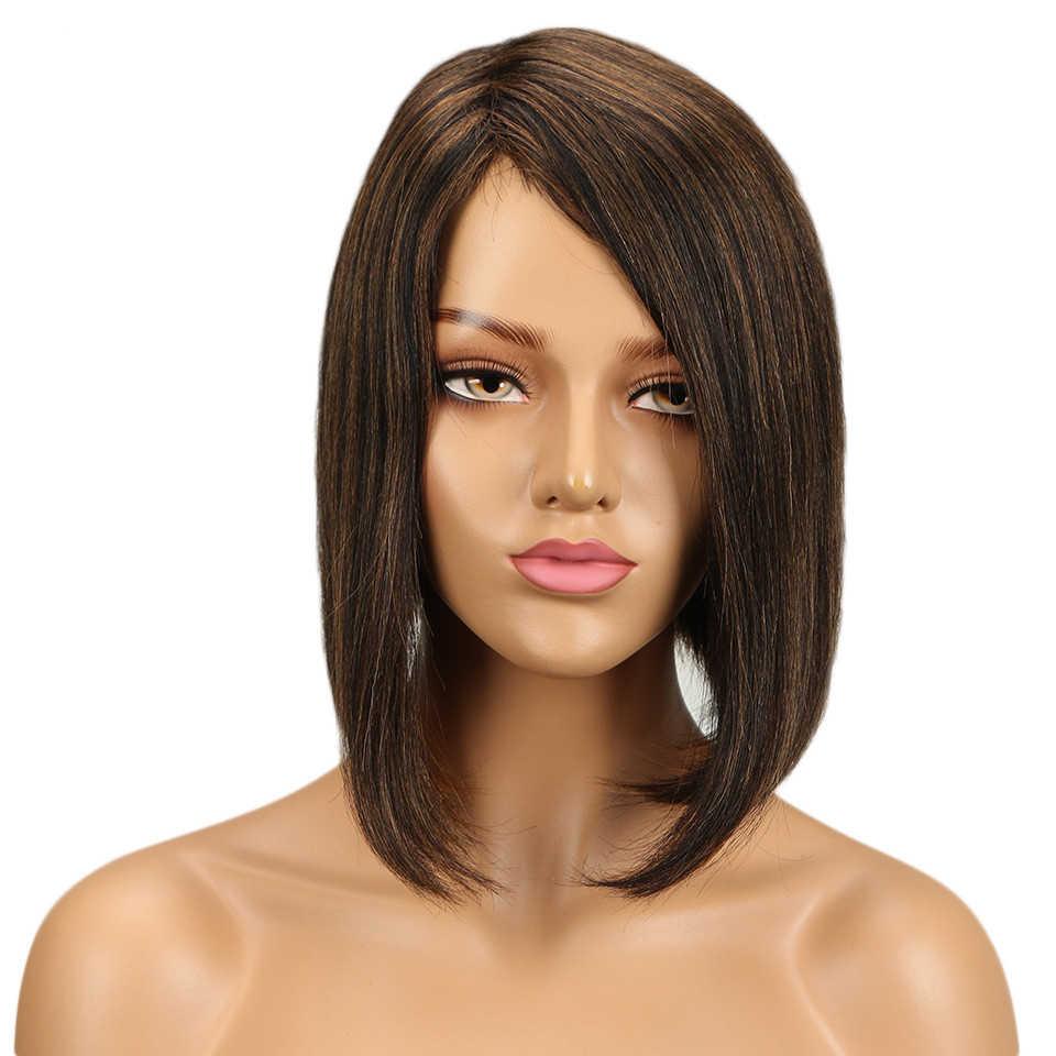 Debiut moda Ombre czerwony kolor Bob peruki ludzkich włosów dla kobiet brązowy Mix peruki z włosów typu remy prezenty brazylijski włosy krótkie włosy peruki sprzedaży