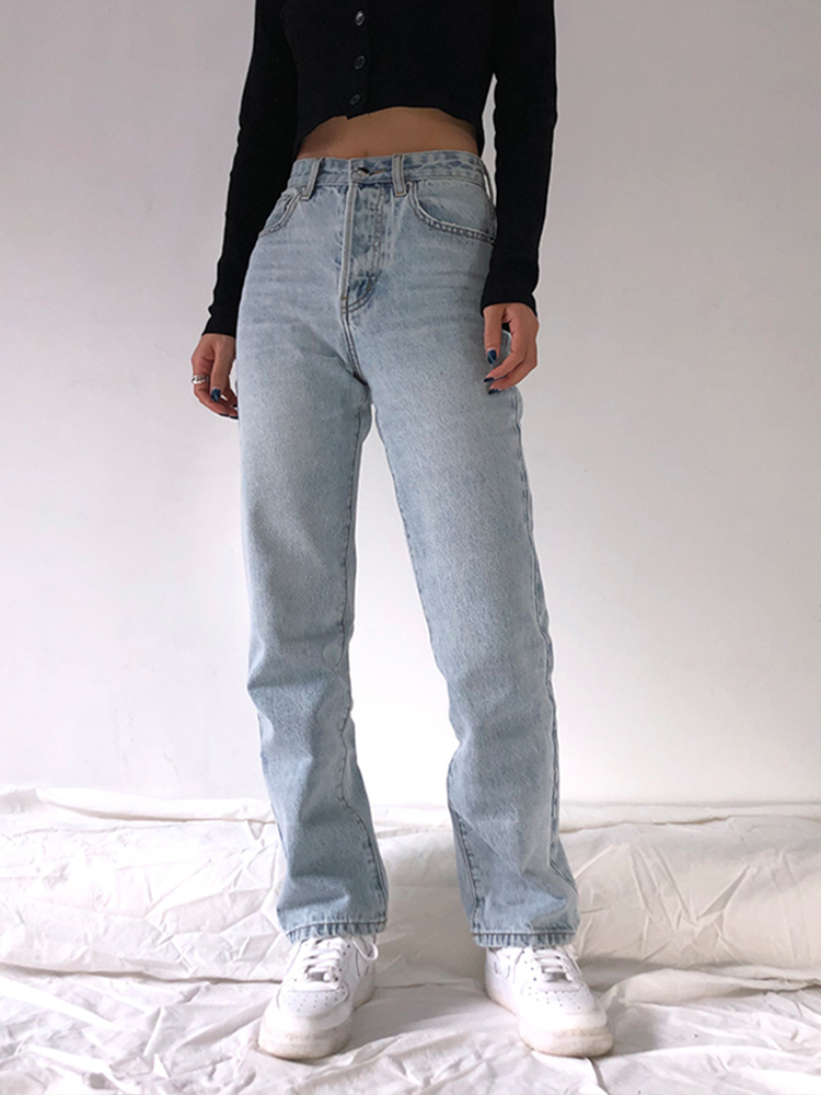 Jeans Straight Pants Washed Loose Comfortable High-Waist Casual Plus-Size Women Mom Boyfriend