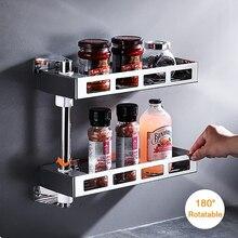 Spice Rack Stainless Steel Rotatable Spice Rack Kitchen Shelf Rust-Proof Storage shelf Wall-Mounted Kitchen Storage Rack
