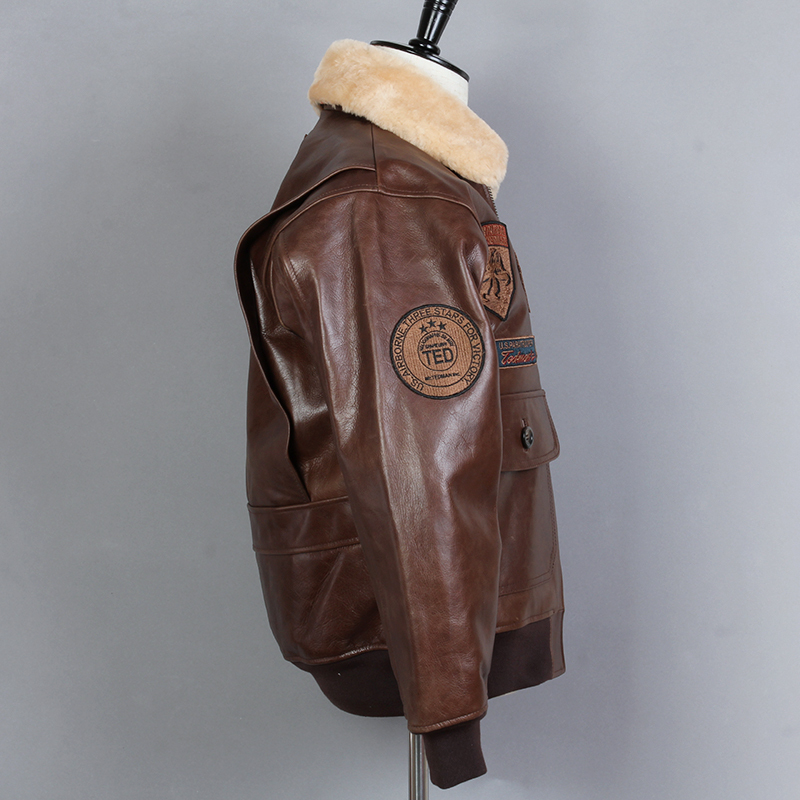 Fly G1 Air Force Genuine Leather Men Fur Collar Cowsikn Bomber Biker Motorcycle Jacket Winter Coat