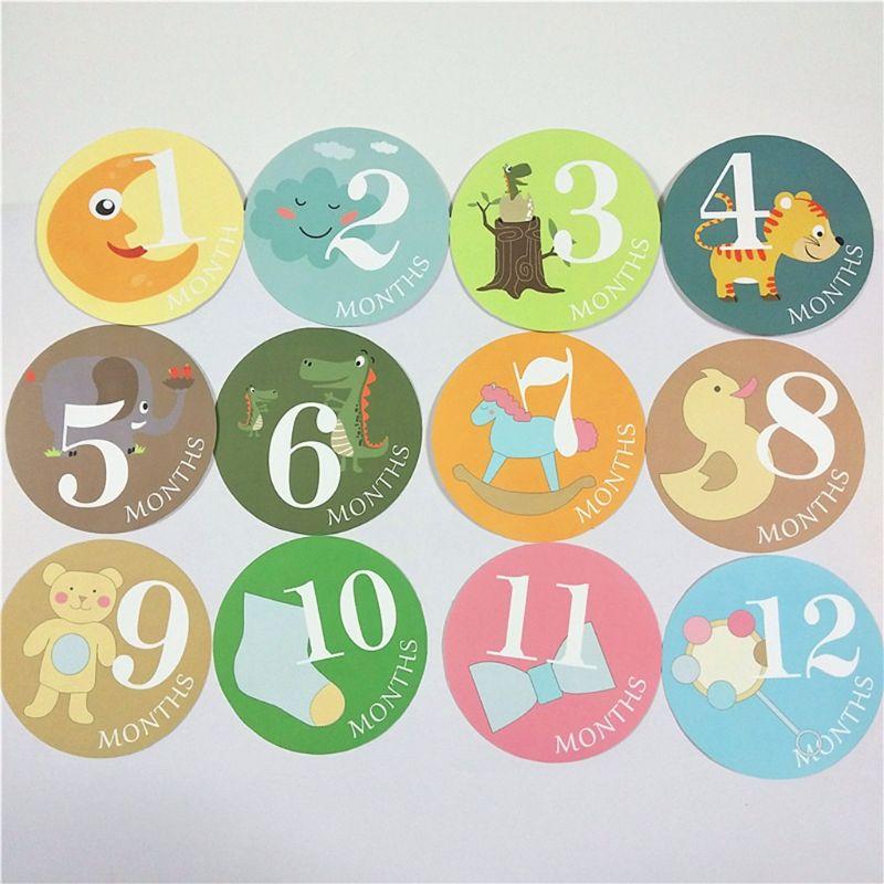 Newborn Milestone Month Sticker Baby Boys Girls Photo Photography Props E65D